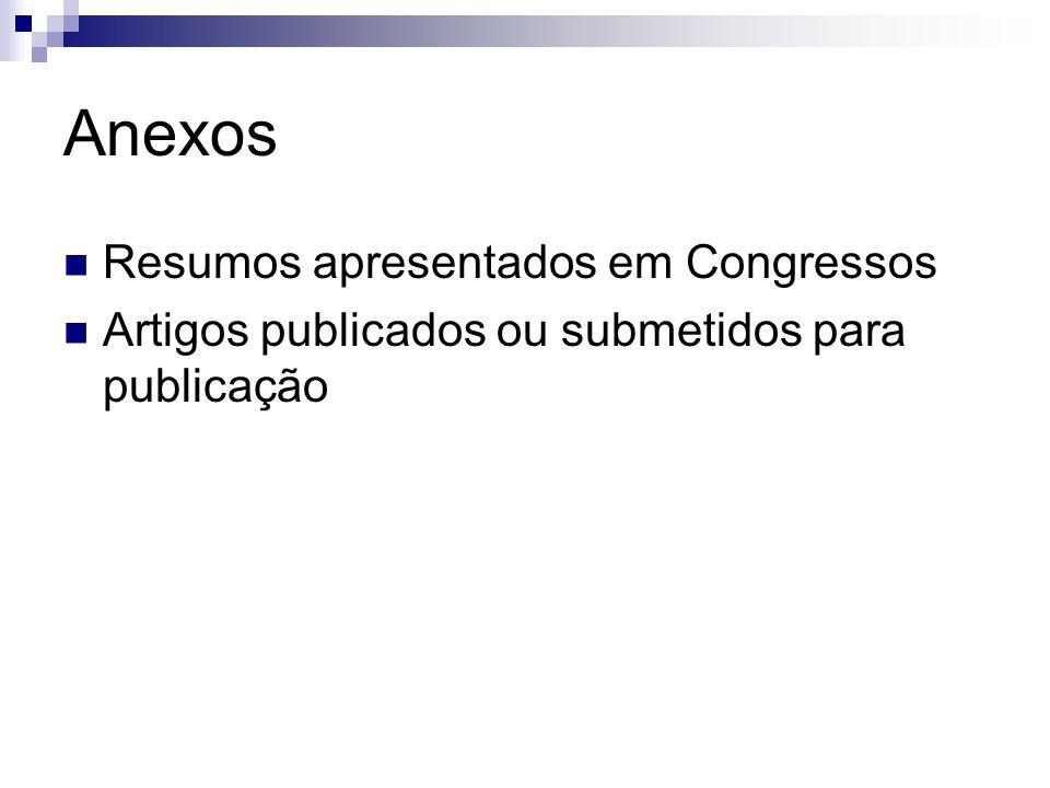Anexos Resumos apresentados em Congressos Artigos publicados ou submetidos para publicação