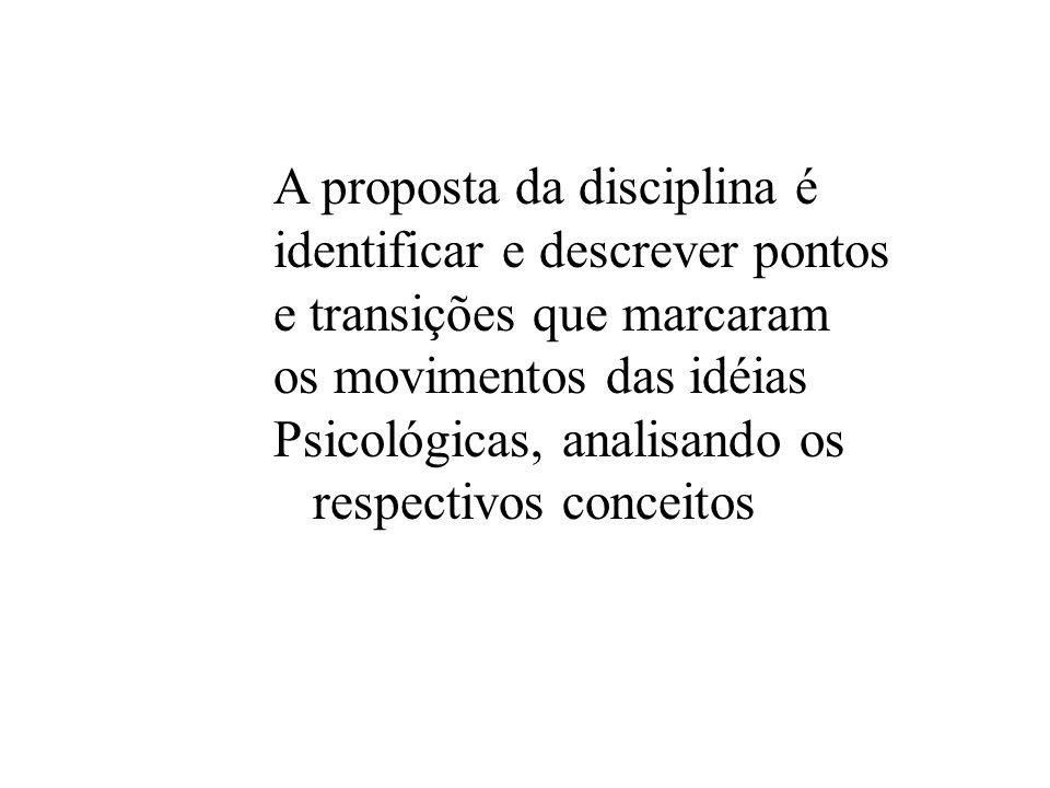 A proposta da disciplina é identificar e descrever pontos e transições que marcaram os movimentos das idéias Psicológicas, analisando os respectivos c