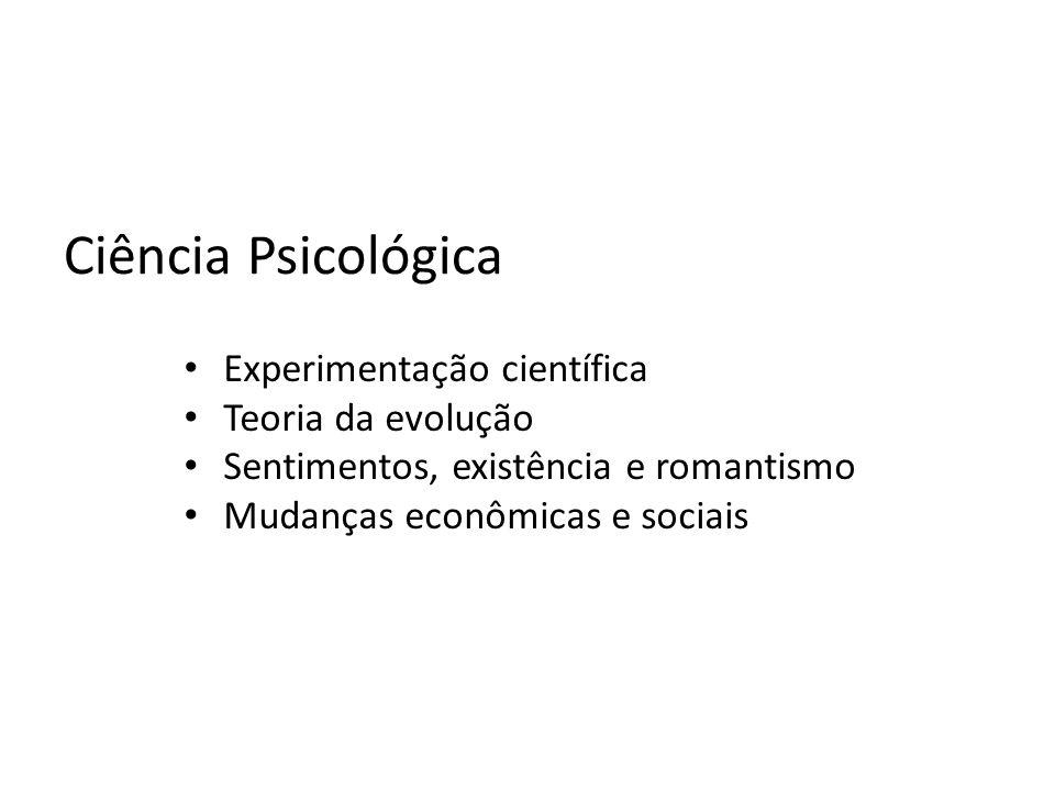 Ciência Psicológica Experimentação científica Teoria da evolução Sentimentos, existência e romantismo Mudanças econômicas e sociais