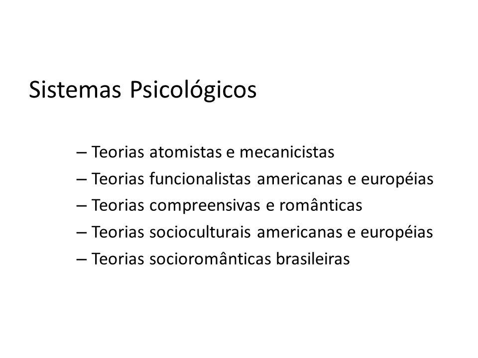 Sistemas Psicológicos – Teorias atomistas e mecanicistas – Teorias funcionalistas americanas e européias – Teorias compreensivas e românticas – Teoria