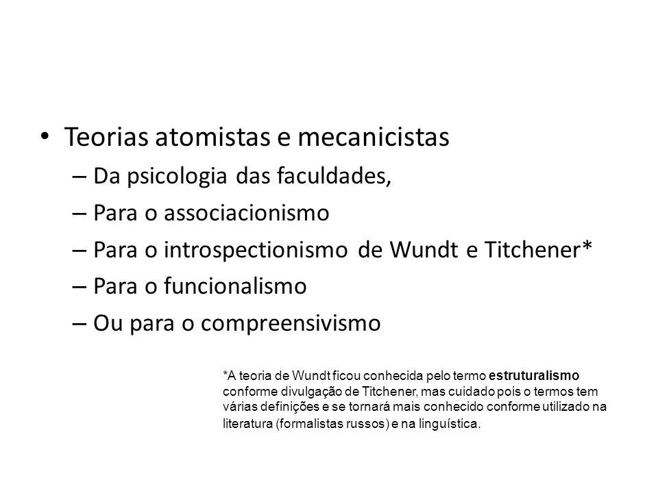 Teorias atomistas e mecanicistas – Da psicologia das faculdades, – Para o associacionismo – Para o introspectionismo de Wundt e Titchener* – Para o fu