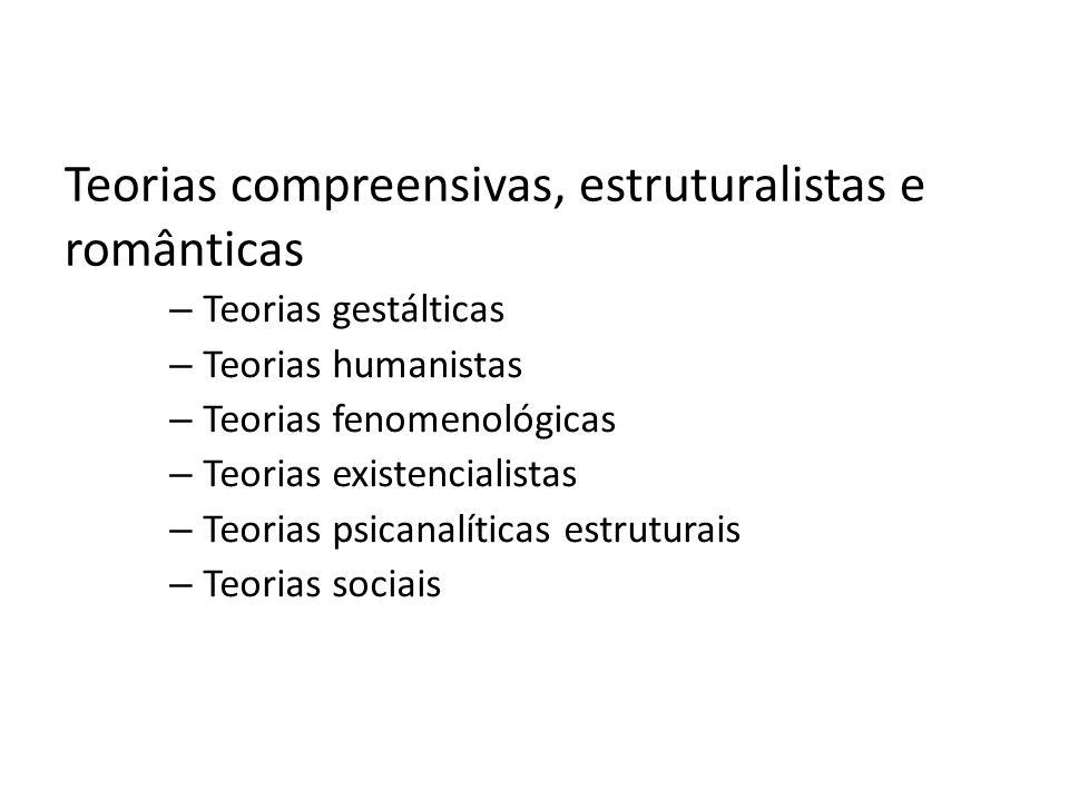 Teorias compreensivas, estruturalistas e românticas – Teorias gestálticas – Teorias humanistas – Teorias fenomenológicas – Teorias existencialistas –