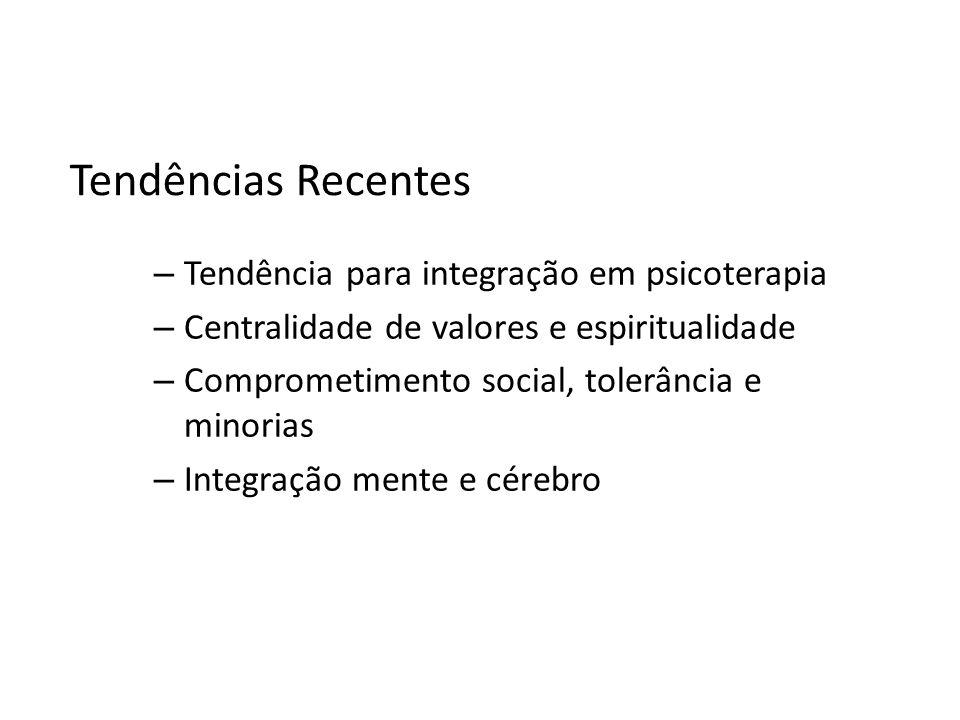Tendências Recentes – Tendência para integração em psicoterapia – Centralidade de valores e espiritualidade – Comprometimento social, tolerância e min