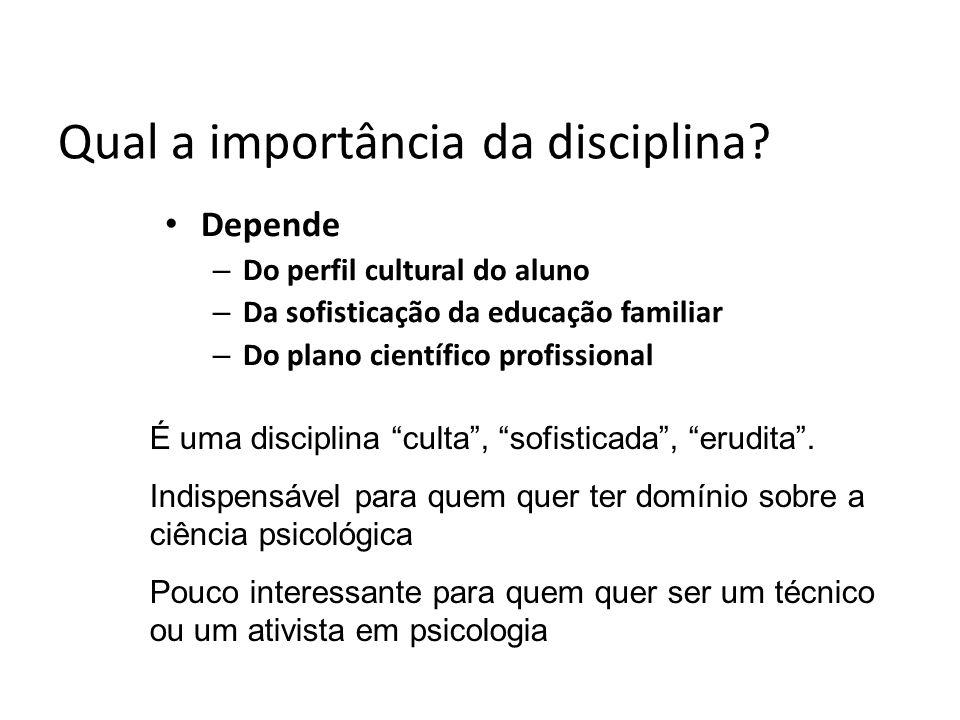 Qual a importância da disciplina? Depende – Do perfil cultural do aluno – Da sofisticação da educação familiar – Do plano científico profissional É um