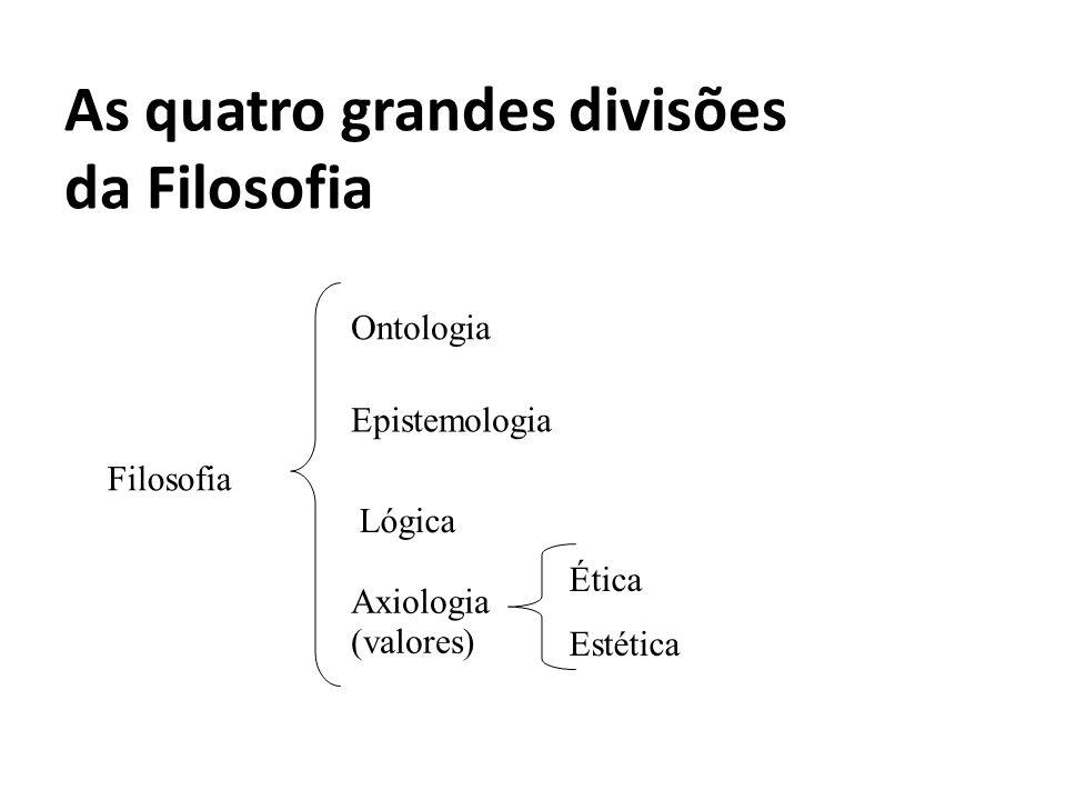 As quatro grandes divisões da Filosofia Filosofia Ontologia Epistemologia Lógica Axiologia (valores) Ética Estética