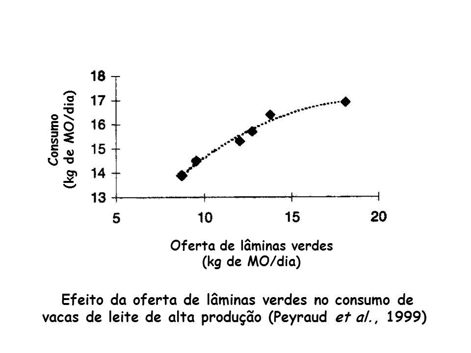 Oferta de lâminas verdes (kg de MO/dia) Consumo (kg de MO/dia) Efeito da oferta de lâminas verdes no consumo de vacas de leite de alta produção (Peyra