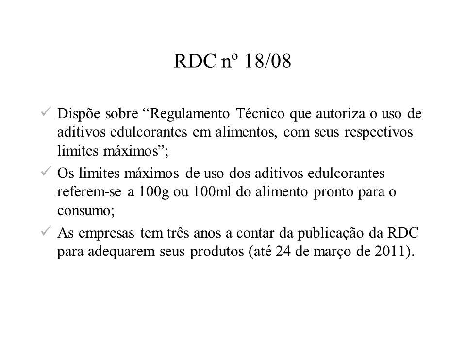 RDC nº 18/08 Dispõe sobre Regulamento Técnico que autoriza o uso de aditivos edulcorantes em alimentos, com seus respectivos limites máximos; Os limit