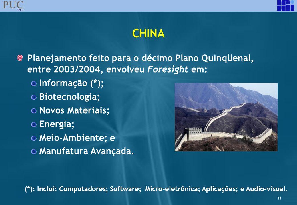 11 PUC RIO CHINA Planejamento feito para o décimo Plano Quinqüenal, entre 2003/2004, envolveu Foresight em: Informação (*); Biotecnologia; Novos Mater