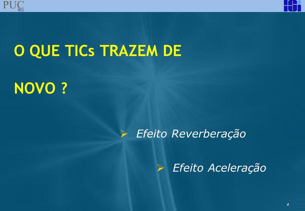 4 PUC RIO O QUE TICs TRAZEM DE NOVO ? Efeito Reverberação Efeito Aceleração