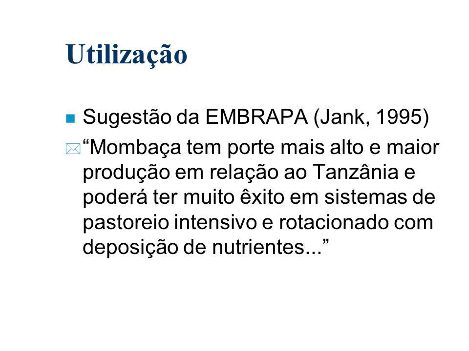 Utilização n Sugestão da EMBRAPA (Jank, 1995) * Mombaça tem porte mais alto e maior produção em relação ao Tanzânia e poderá ter muito êxito em sistem