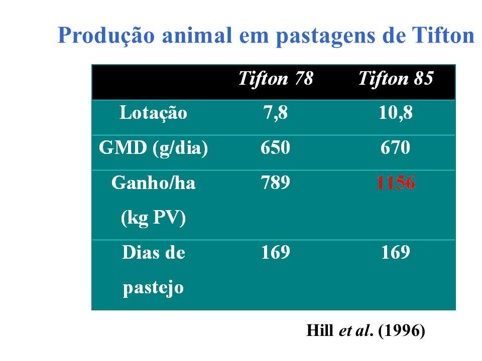 Produção animal em pastagens de Tifton Hill et al. (1996)