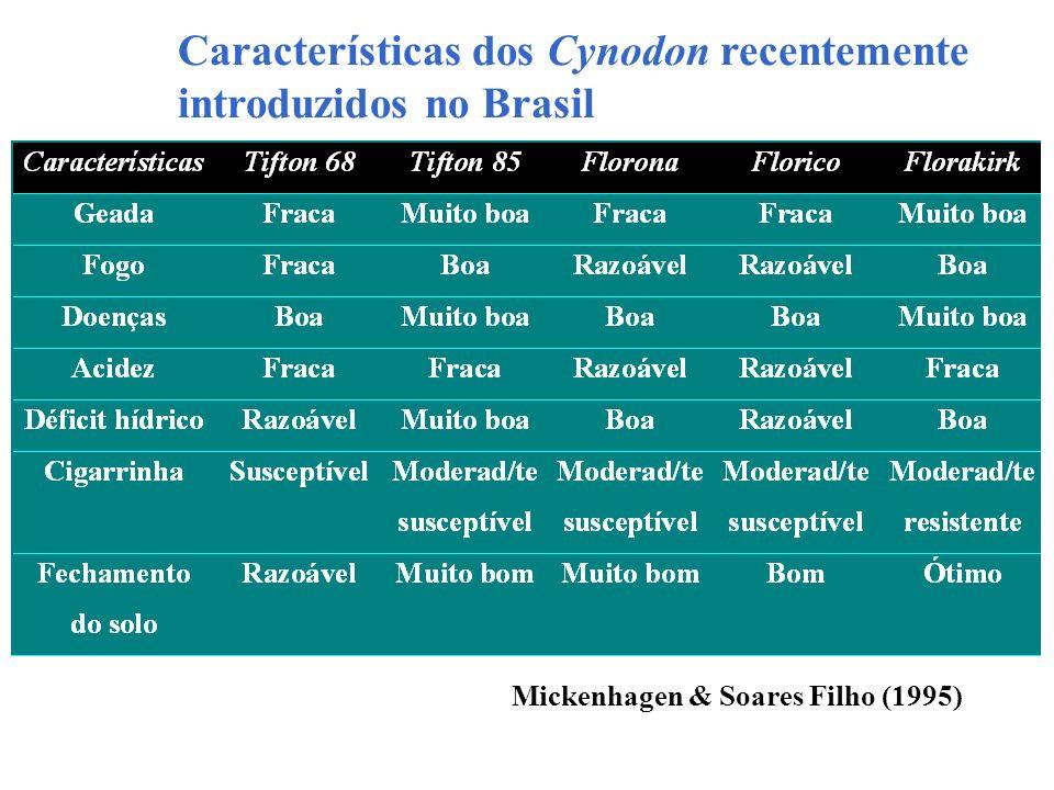 Características dos Cynodon recentemente introduzidos no Brasil Mickenhagen & Soares Filho (1995)