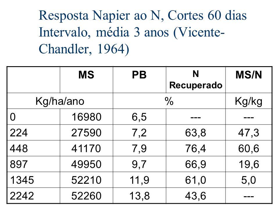 Resposta Napier ao N, Cortes 60 dias Intervalo, média 3 anos (Vicente- Chandler, 1964) MSPB N Recuperado MS/N Kg/ha/ano%Kg/kg 0169806,5--- 224275907,2