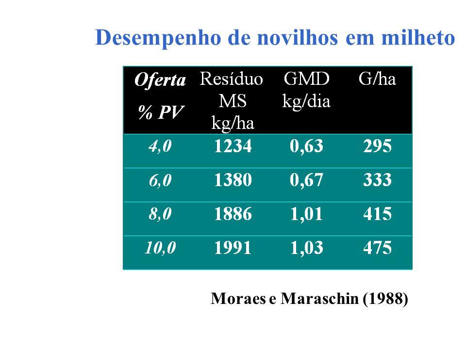 Desempenho de novilhos em milheto Moraes e Maraschin (1988)