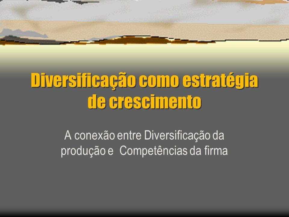Diversificação como estratégia de crescimento A conexão entre Diversificação da produção e Competências da firma