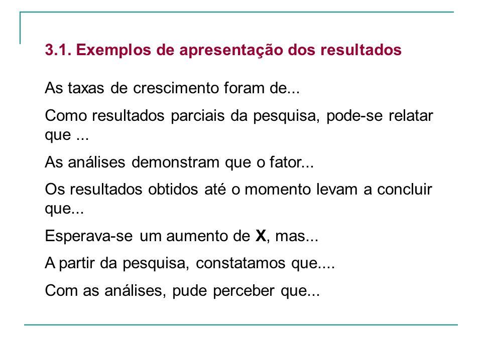 3.1. Exemplos de apresentação dos resultados As taxas de crescimento foram de... Como resultados parciais da pesquisa, pode-se relatar que... As análi