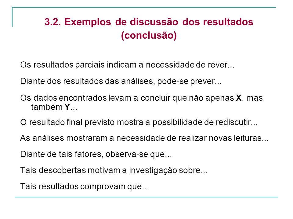 3.2. Exemplos de discussão dos resultados (conclusão) Os resultados parciais indicam a necessidade de rever... Diante dos resultados das análises, pod