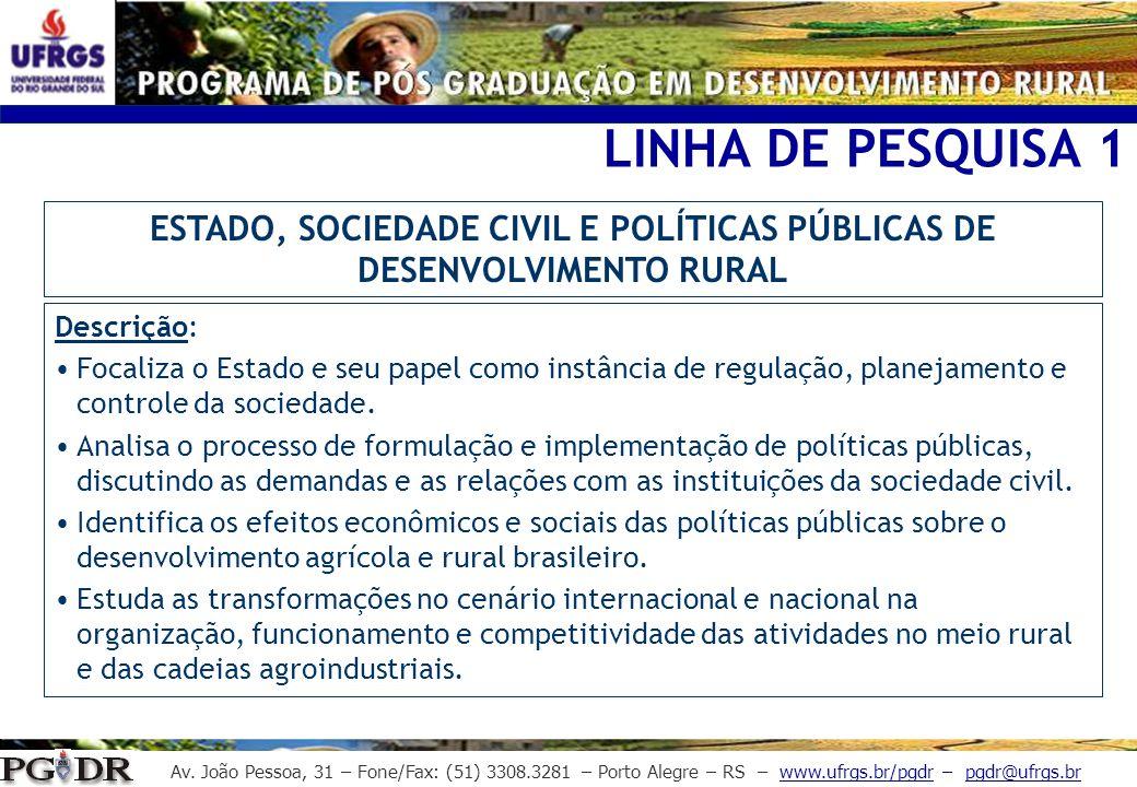 Av. João Pessoa, 31 – Fone/Fax: (51) 3308.3281 – Porto Alegre – RS – www.ufrgs.br/pgdr – pgdr@ufrgs.br LINHA DE PESQUISA 1 Descrição: Focaliza o Estad