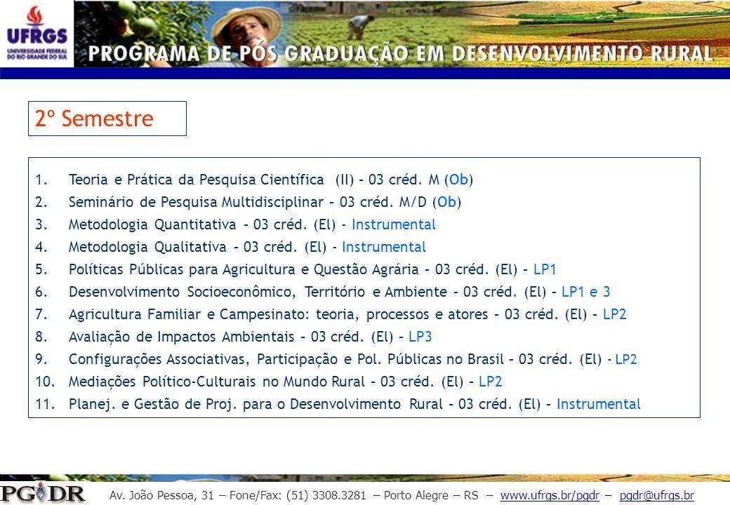 Av. João Pessoa, 31 – Fone/Fax: (51) 3308.3281 – Porto Alegre – RS – www.ufrgs.br/pgdr – pgdr@ufrgs.br 2º Semestre 1.Teoria e Prática da Pesquisa Cien
