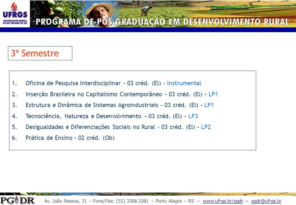 Av. João Pessoa, 31 – Fone/Fax: (51) 3308.3281 – Porto Alegre – RS – www.ufrgs.br/pgdr – pgdr@ufrgs.br 3º Semestre 1.Oficina de Pesquisa Interdiscipli