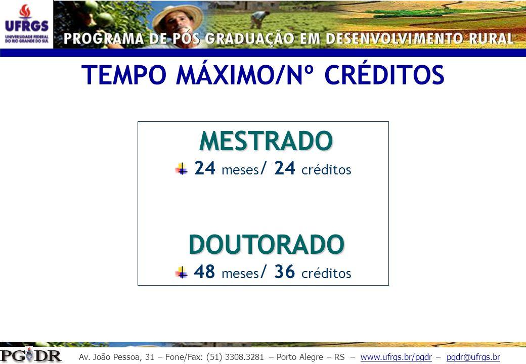 Av. João Pessoa, 31 – Fone/Fax: (51) 3308.3281 – Porto Alegre – RS – www.ufrgs.br/pgdr – pgdr@ufrgs.br MESTRADO 24 meses / 24 créditos DOUTORADO 48 me