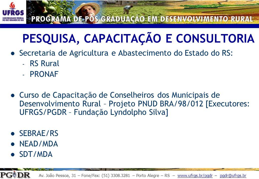 Av. João Pessoa, 31 – Fone/Fax: (51) 3308.3281 – Porto Alegre – RS – www.ufrgs.br/pgdr – pgdr@ufrgs.br PESQUISA, CAPACITAÇÃO E CONSULTORIA Secretaria
