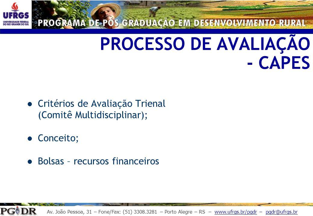 Av. João Pessoa, 31 – Fone/Fax: (51) 3308.3281 – Porto Alegre – RS – www.ufrgs.br/pgdr – pgdr@ufrgs.br PROCESSO DE AVALIAÇÃO - CAPES Critérios de Aval