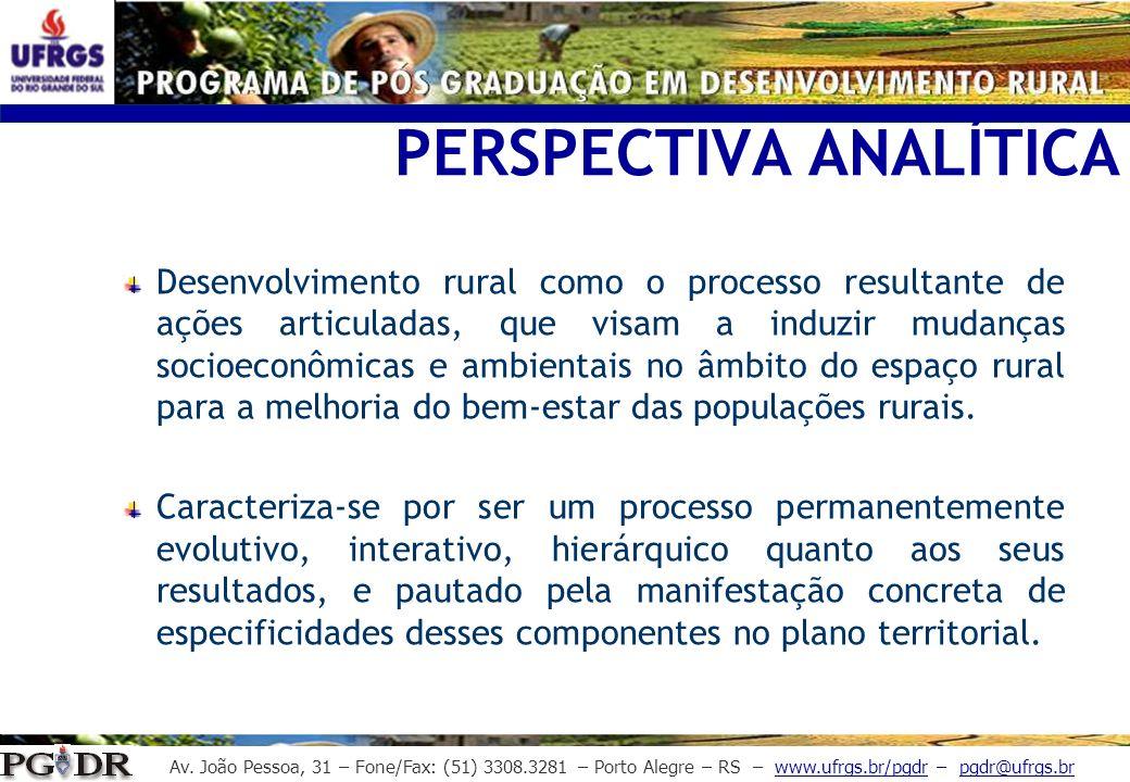 Av. João Pessoa, 31 – Fone/Fax: (51) 3308.3281 – Porto Alegre – RS – www.ufrgs.br/pgdr – pgdr@ufrgs.br PERSPECTIVA ANALÍTICA Desenvolvimento rural com
