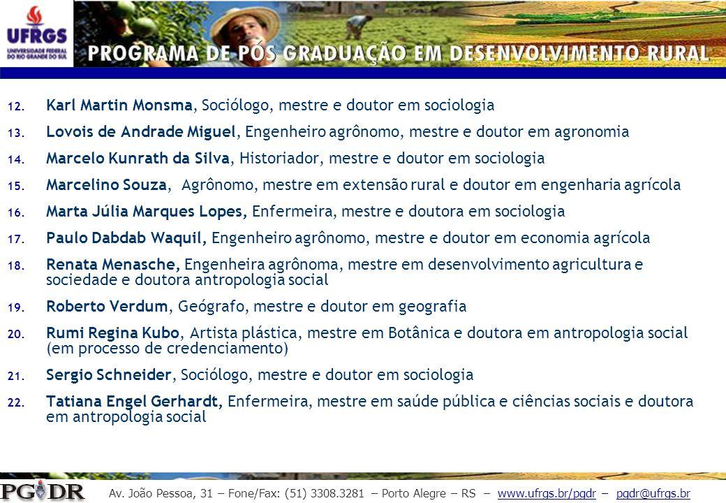Av. João Pessoa, 31 – Fone/Fax: (51) 3308.3281 – Porto Alegre – RS – www.ufrgs.br/pgdr – pgdr@ufrgs.br 12. Karl Martin Monsma, Sociólogo, mestre e dou