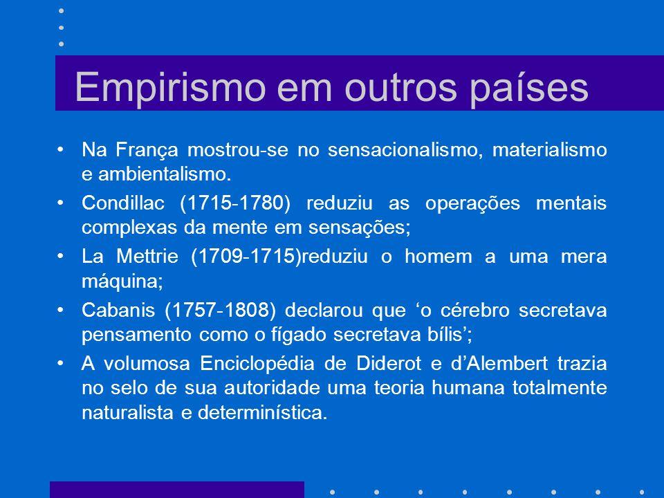 Empirismo em outros países Na França mostrou-se no sensacionalismo, materialismo e ambientalismo. Condillac (1715-1780) reduziu as operações mentais c