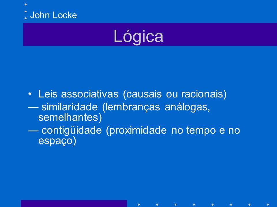 Lógica Leis associativas (causais ou racionais) similaridade (lembranças análogas, semelhantes) contigüidade (proximidade no tempo e no espaço) John L