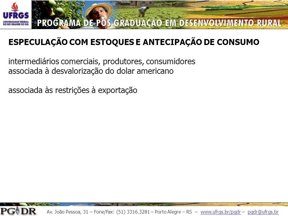 Av. João Pessoa, 31 – Fone/Fax: (51) 3316.3281 – Porto Alegre – RS – www.ufrgs.br/pgdr – pgdr@ufrgs.br ESPECULAÇÃO COM ESTOQUES E ANTECIPAÇÃO DE CONSU