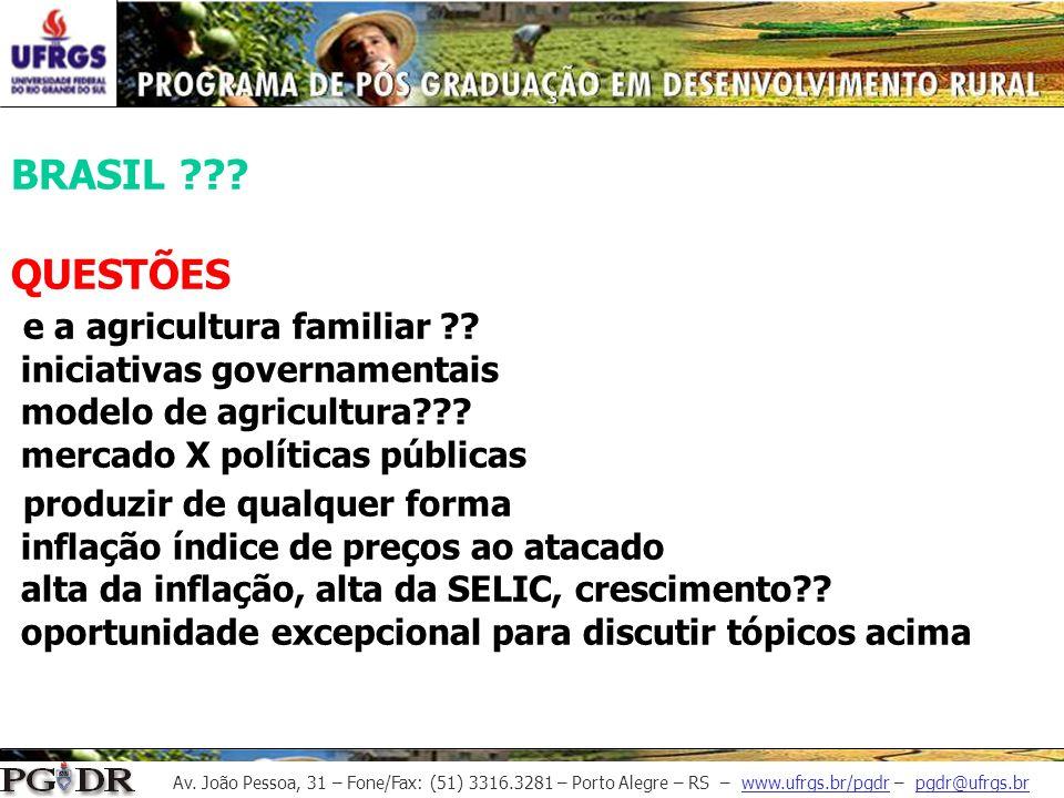 Av. João Pessoa, 31 – Fone/Fax: (51) 3316.3281 – Porto Alegre – RS – www.ufrgs.br/pgdr – pgdr@ufrgs.br BRASIL ??? QUESTÕES e a agricultura familiar ??