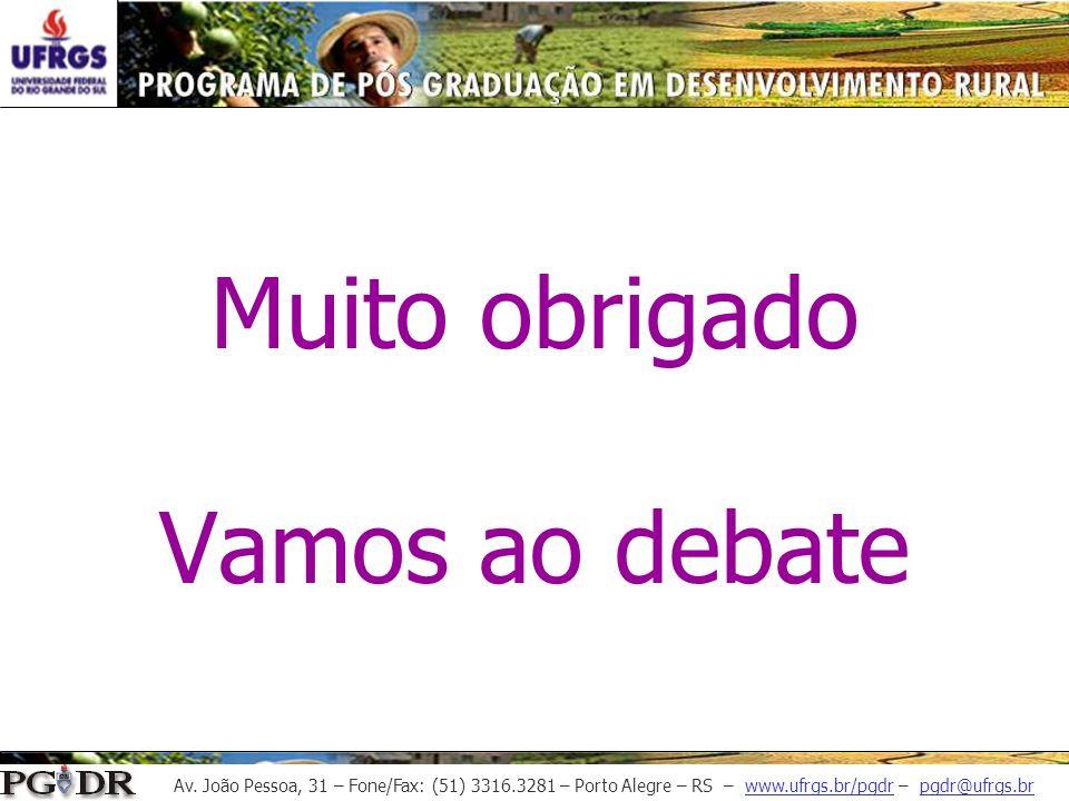 Av. João Pessoa, 31 – Fone/Fax: (51) 3316.3281 – Porto Alegre – RS – www.ufrgs.br/pgdr – pgdr@ufrgs.br Muito obrigado Vamos ao debate