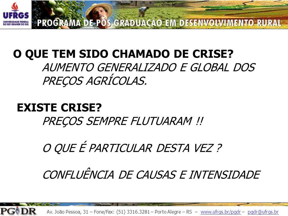Av. João Pessoa, 31 – Fone/Fax: (51) 3316.3281 – Porto Alegre – RS – www.ufrgs.br/pgdr – pgdr@ufrgs.br O QUE TEM SIDO CHAMADO DE CRISE? AUMENTO GENERA