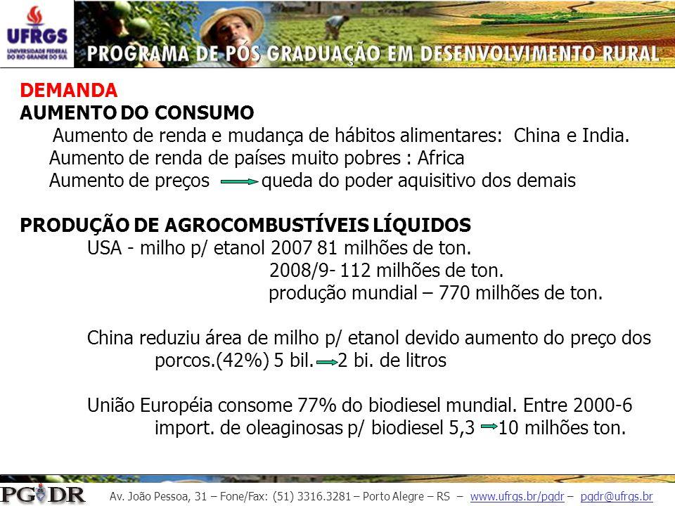 Av. João Pessoa, 31 – Fone/Fax: (51) 3316.3281 – Porto Alegre – RS – www.ufrgs.br/pgdr – pgdr@ufrgs.br DEMANDA AUMENTO DO CONSUMO Aumento de renda e m