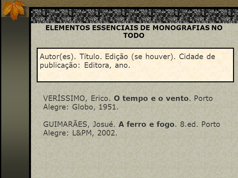 ELEMENTOS COMPLEMENTARES DE MONOGRAFIAS NO TODO AYALA, Marcos.