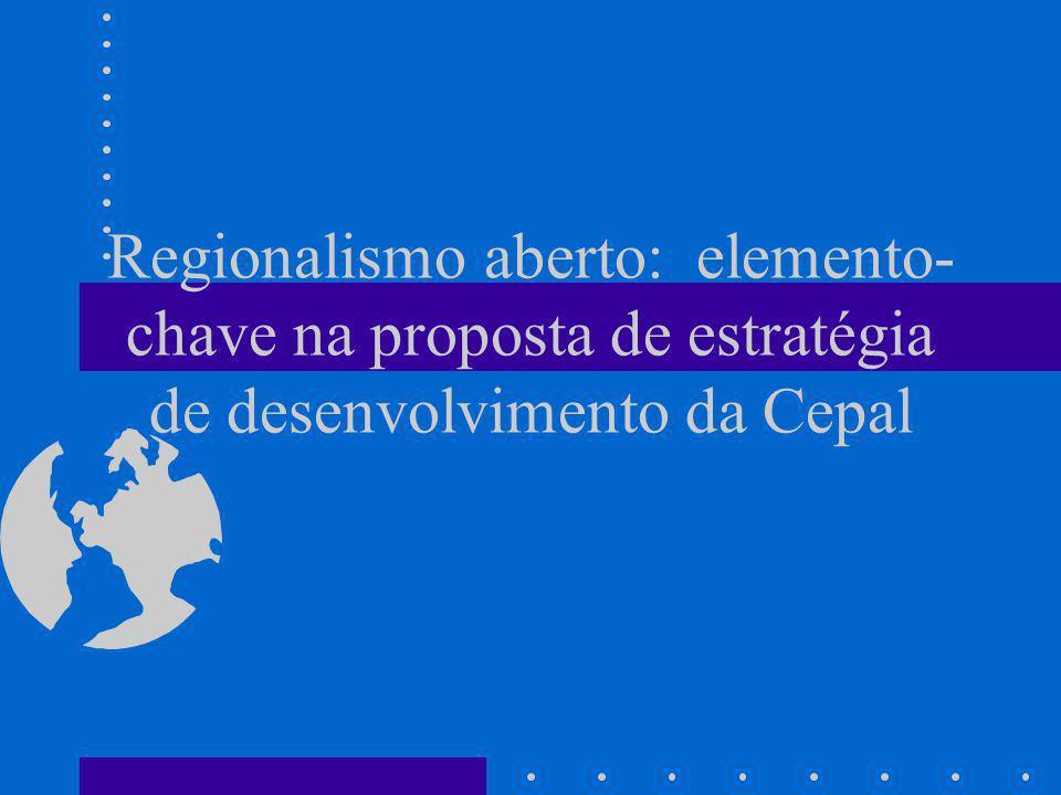 Desenvolvimento Econômico sob a proposta de Regionalismo Aberto Hipótese básica: A integração econômica deve servir como instrumento ao objetivo de transformação produtiva com equidade social