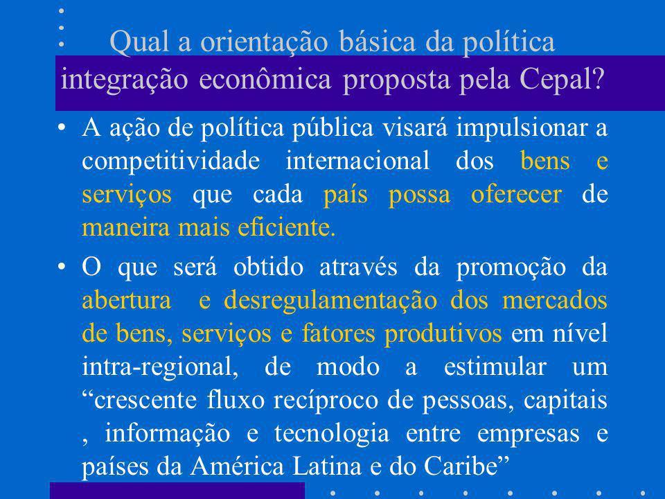 O que se espera com essa orientação de política de integração econômica e abertura dos mercados.