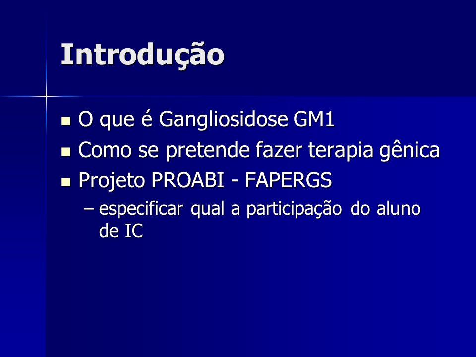 Introdução O que é Gangliosidose GM1 O que é Gangliosidose GM1 Como se pretende fazer terapia gênica Como se pretende fazer terapia gênica Projeto PRO