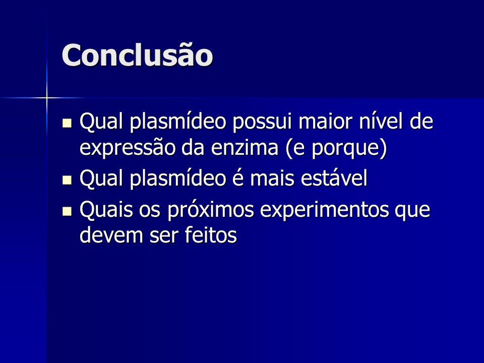 Conclusão Qual plasmídeo possui maior nível de expressão da enzima (e porque) Qual plasmídeo possui maior nível de expressão da enzima (e porque) Qual