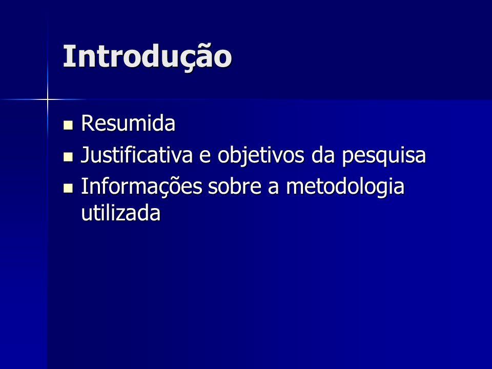 Introdução Resumida Resumida Justificativa e objetivos da pesquisa Justificativa e objetivos da pesquisa Informações sobre a metodologia utilizada Inf