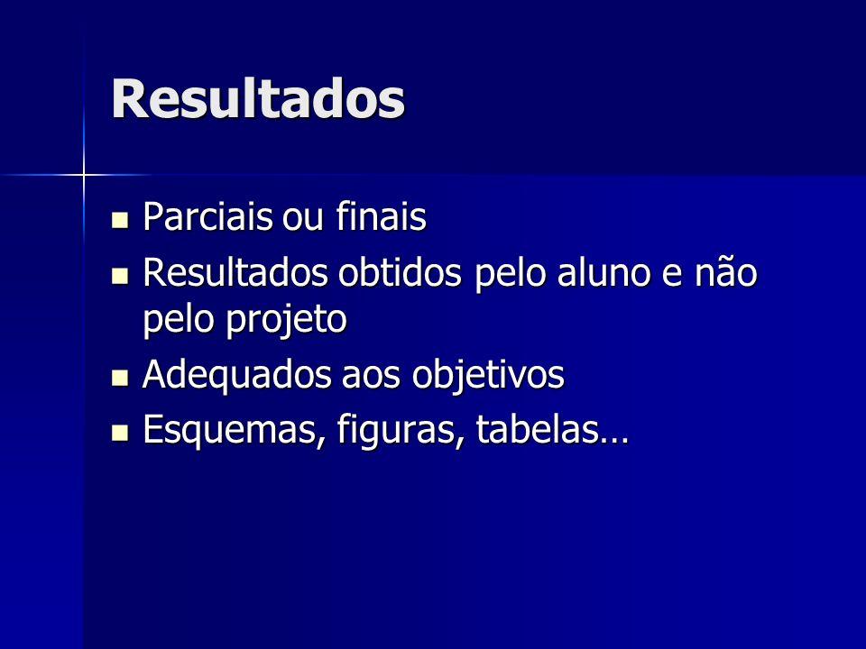 Resultados Parciais ou finais Parciais ou finais Resultados obtidos pelo aluno e não pelo projeto Resultados obtidos pelo aluno e não pelo projeto Ade