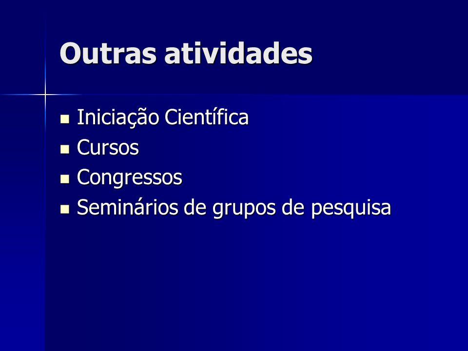 Outras atividades Iniciação Científica Iniciação Científica Cursos Cursos Congressos Congressos Seminários de grupos de pesquisa Seminários de grupos