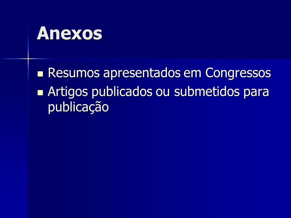 Anexos Resumos apresentados em Congressos Resumos apresentados em Congressos Artigos publicados ou submetidos para publicação Artigos publicados ou su