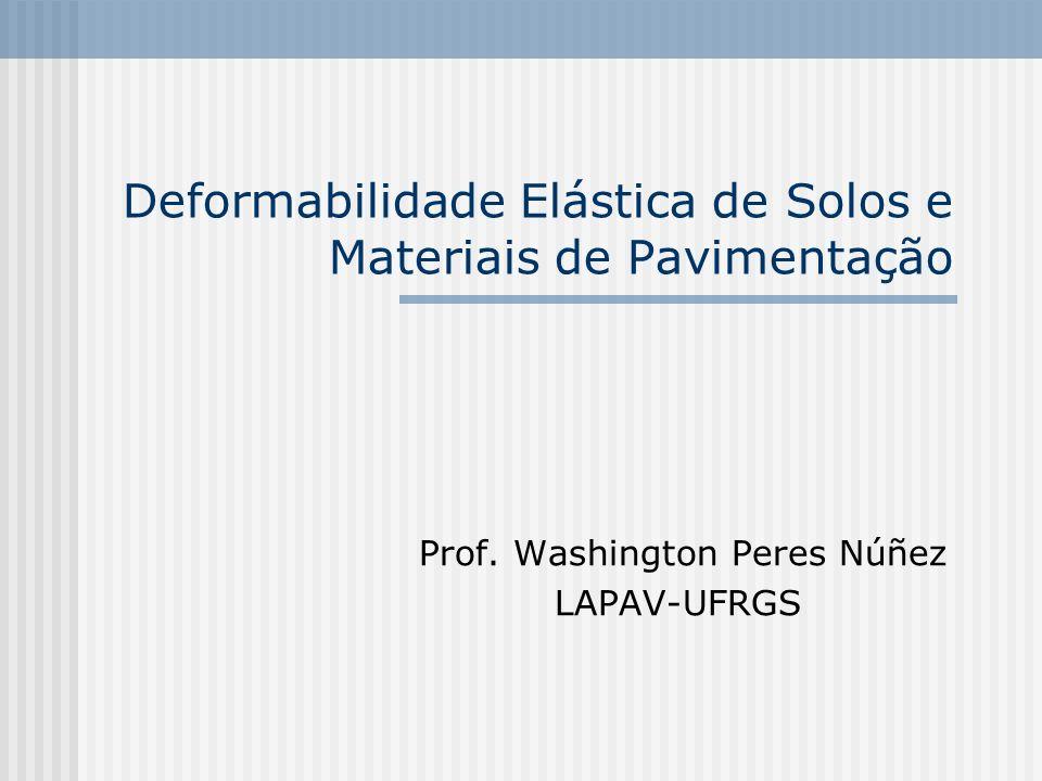 Deformabilidade Elástica de Solos e Materiais de Pavimentação Prof. Washington Peres Núñez LAPAV-UFRGS