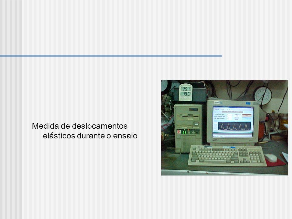 Medida de deslocamentos elásticos durante o ensaio
