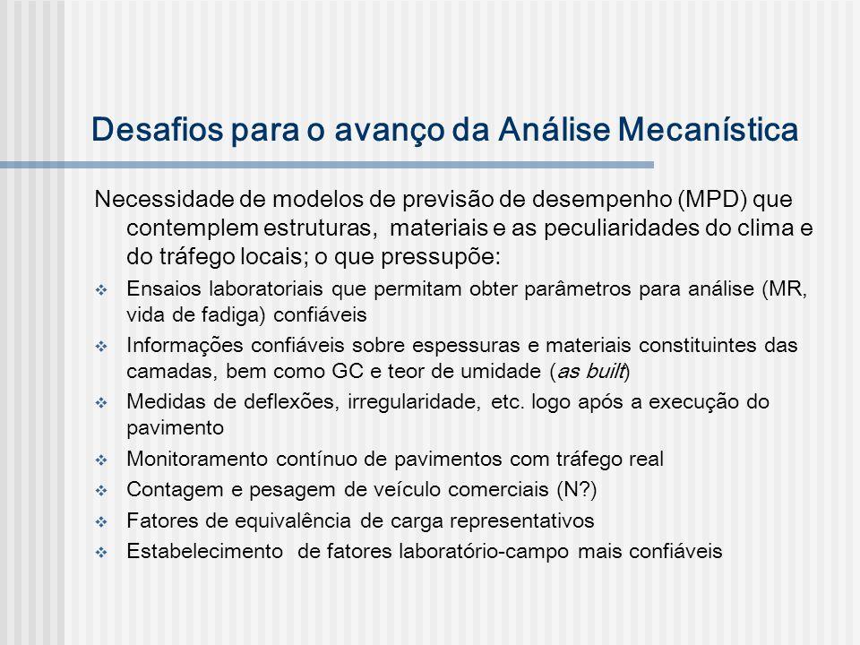 Desafios para o avanço da Análise Mecanística Necessidade de modelos de previsão de desempenho (MPD) que contemplem estruturas, materiais e as peculia