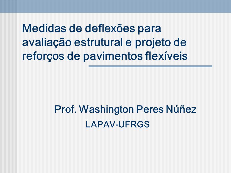 Medidas de deflexões para avaliação estrutural e projeto de reforços de pavimentos flexíveis Prof. Washington Peres Núñez LAPAV-UFRGS