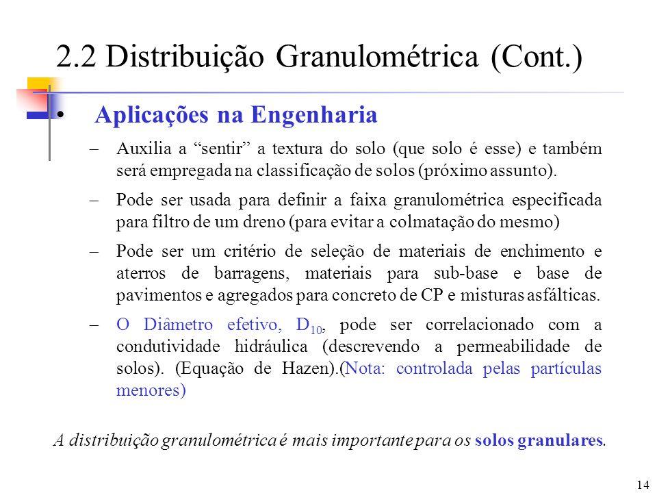 14 2.2 Distribuição Granulométrica (Cont.) Aplicações na Engenharia Auxilia a sentir a textura do solo (que solo é esse) e também será empregada na cl